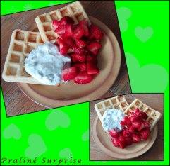 Legga Waffeln mit MilchSchnitteQuark und Erdbeeren 250g Quark, 2 Milchschnitten, etwas Honig, ein Schuß Milch vermatschen = fertig^^